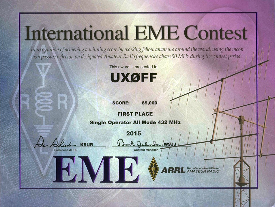 «International EME Contest» 2015 года Single Operator All Mode 432 MHz