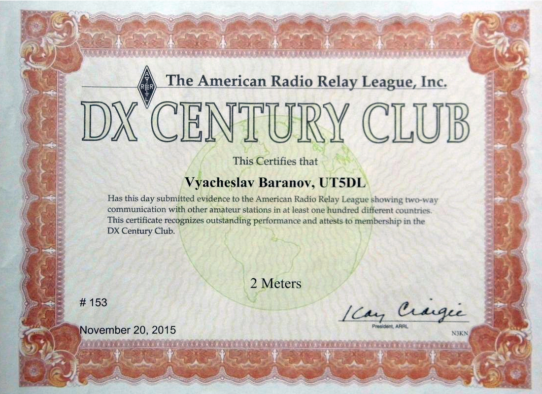 BSCC#159,UT5DL: DXCC 144 MHz