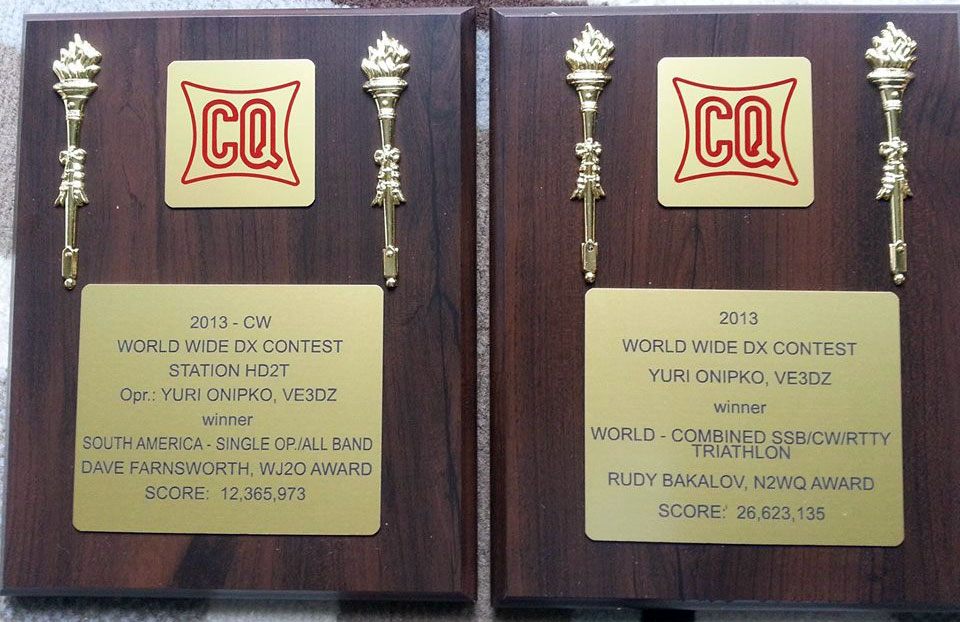 BSCC #77 VE3DZ, Юрий Онипко: «2 more plaques from CQ...»