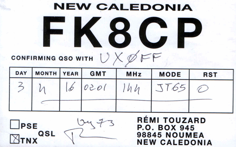 UX0FF: FK8CP on 2 meter band
