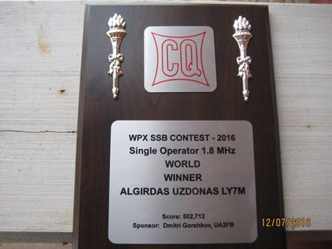«WPX SSB Contest 2016» Single operator 1,8 MHz: World winner LY7M
